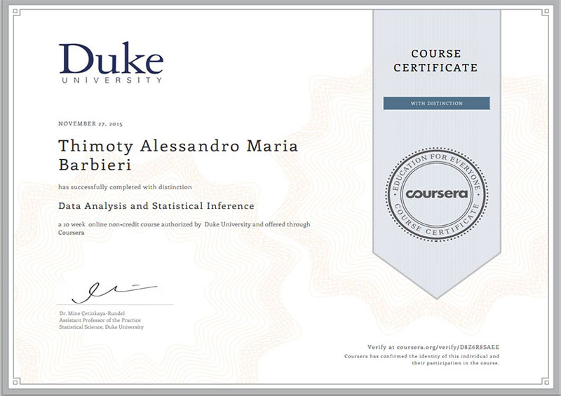 Duke University – Data Analysis and Statistical Inference