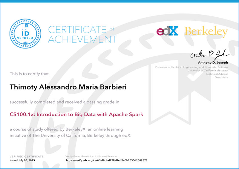 edX Verified Certificate for Scalable Machine Learning