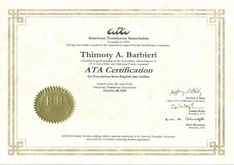ATA - Certified Translator