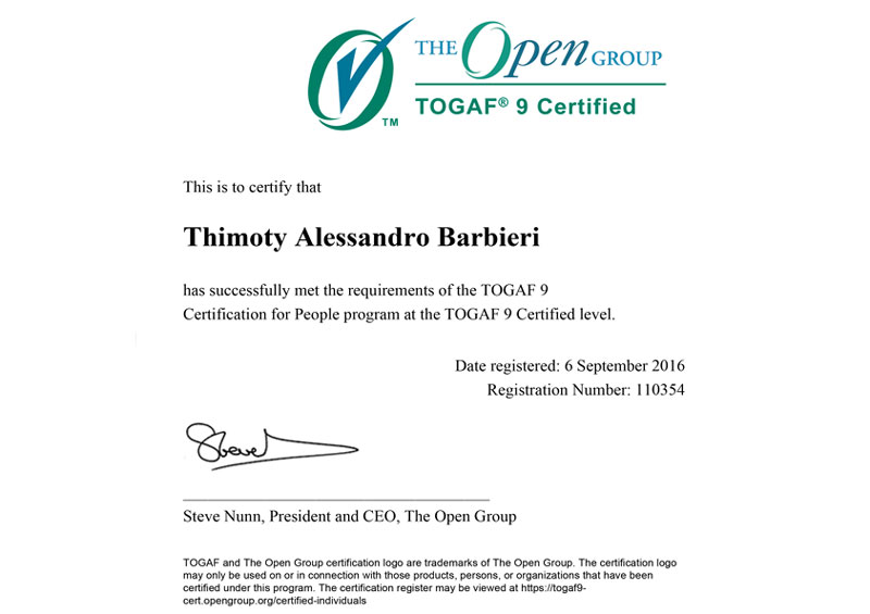 TOGAF 9.1 - Certified Enterprise Architect