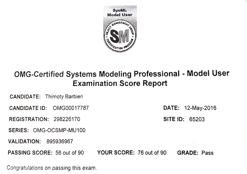 OMG – Certified Systems Modeling Professional SysMLional SysML