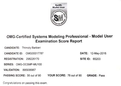 OMG – Certified Systems Modeling Professional SysML